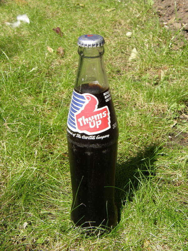 A bottle of Thums Up