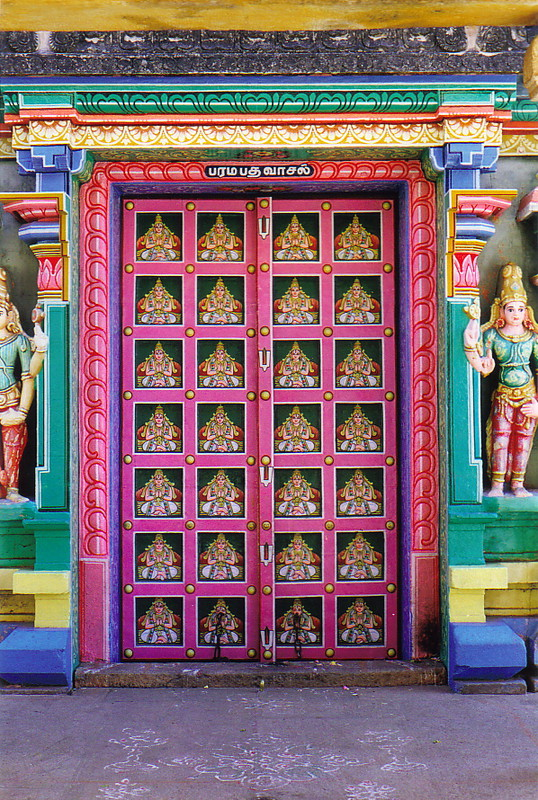 A colourful door in Sri Ranganathaswamy Temple