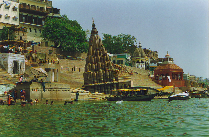 A temple sliding into the Ganges