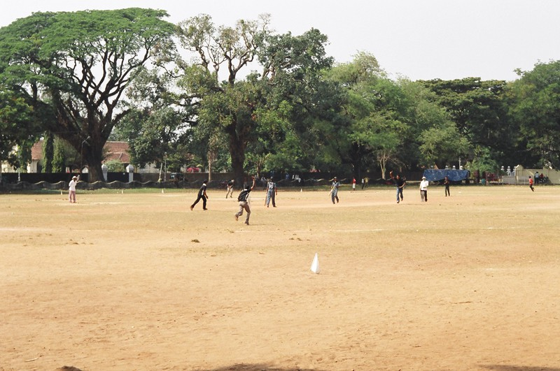 Cricket on the green in front of St Francis' Church