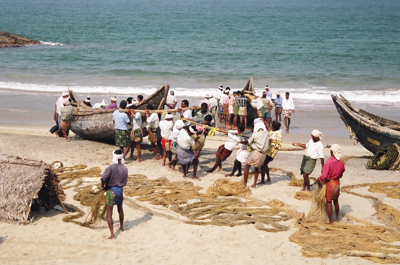 Fishermen readying their boats on Hawah Beach