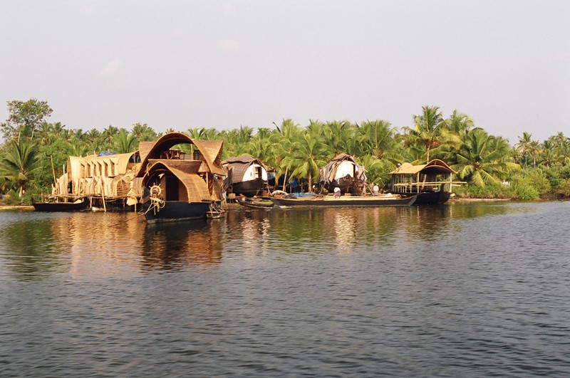 A boatyard where houseboats are made