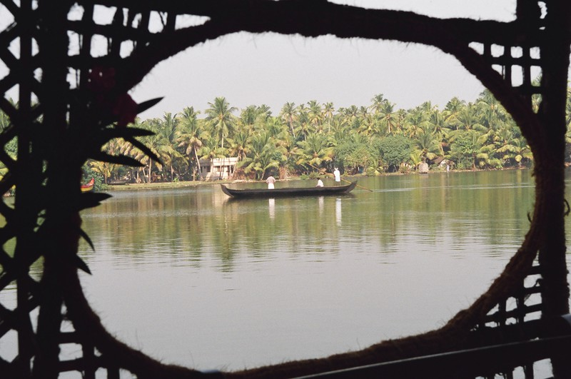 A river taxi ferrying locals across the backwaters