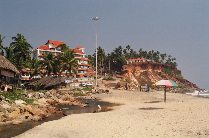 The southern end of the beach at Varkala