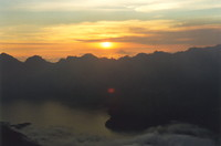 A sunset view from Rinjani's second rim at 3000m
