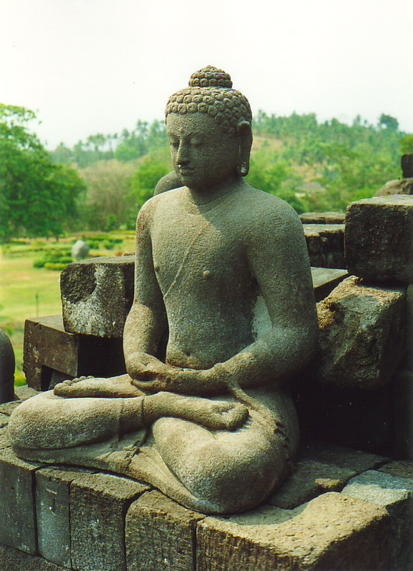 A contemplative Buddha at Borobudur