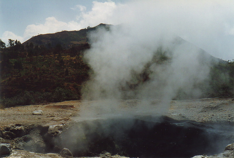 Steam shooting out of a vent at Kawal Sikidang