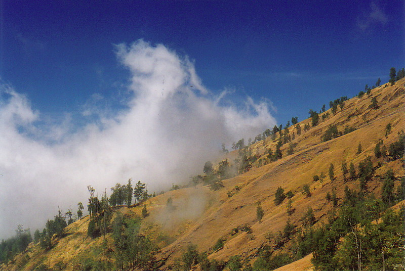 Clouds against the slopes of Gunung Rinjani