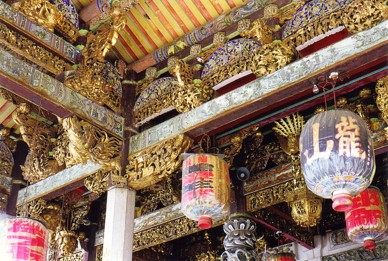 An intricately decorated roof at the Leong San Tong Khoo Kongsi clan house