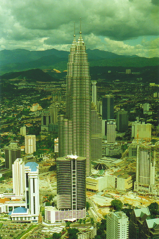 The Petronas Twin Towers from the top of the Menara Kuala Lumpur