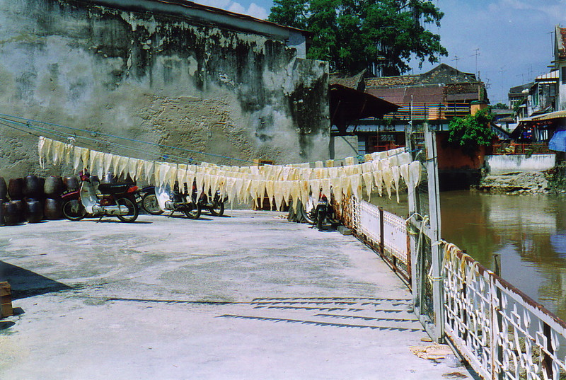 Fish drying by the river in Old Melaka
