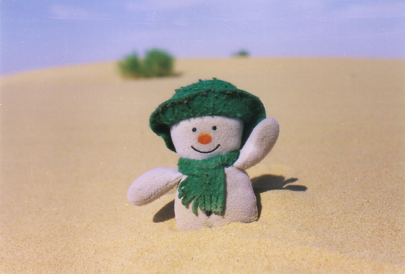 A snowman in the desert