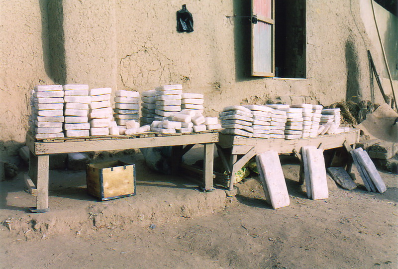 Slabs of salt on a market table in Gao