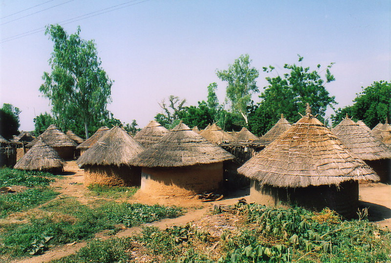 Mud huts by the Kayes-Bamako railway line