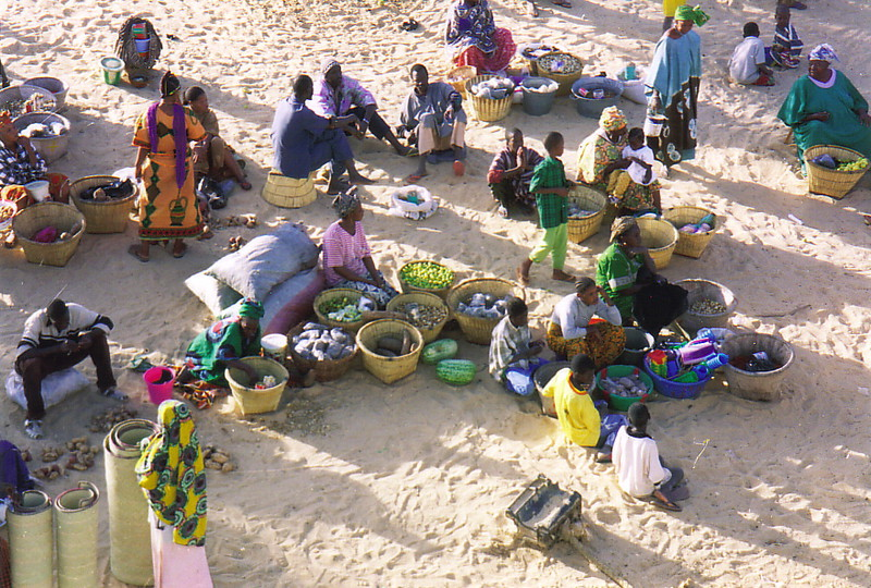 A market by the banks of the River Niger