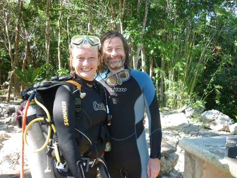 Peta and Mark after their second cenote dive