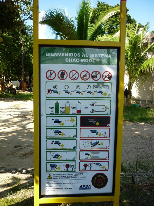 Rules posted by the entrance to the cenote site