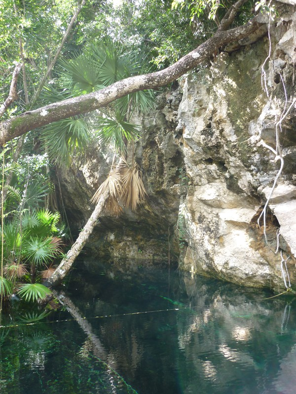 The entrance to Kukulkan cenote, Chac Mool