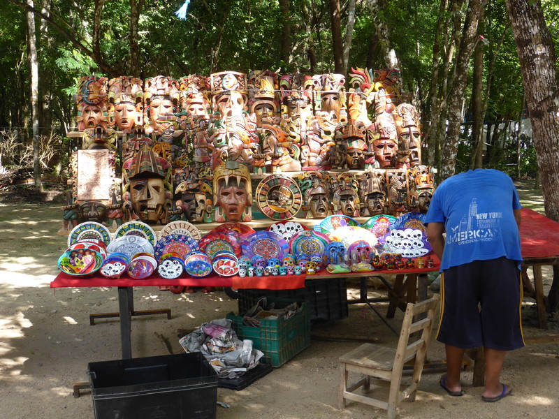 A hawker stall selling masks