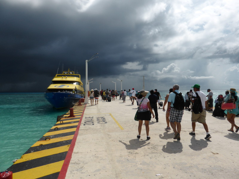 The ferry to Cozumel, with storm clouds gathering
