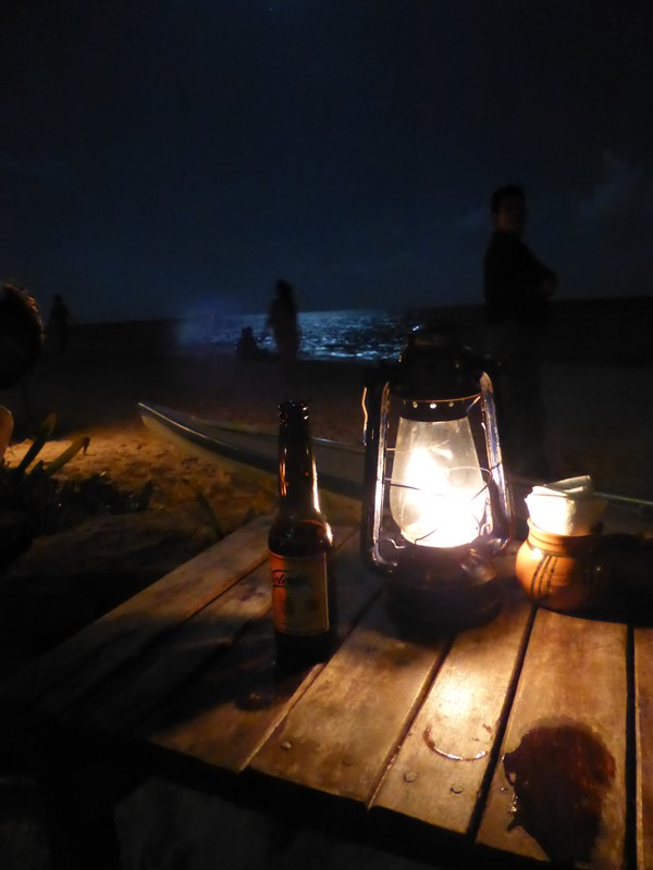 A quiet beer overlooking the beach at the Fusion bar in Playa del Carmen