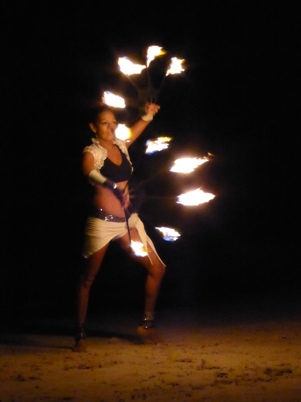 Fire juggling on the beach at Fusion