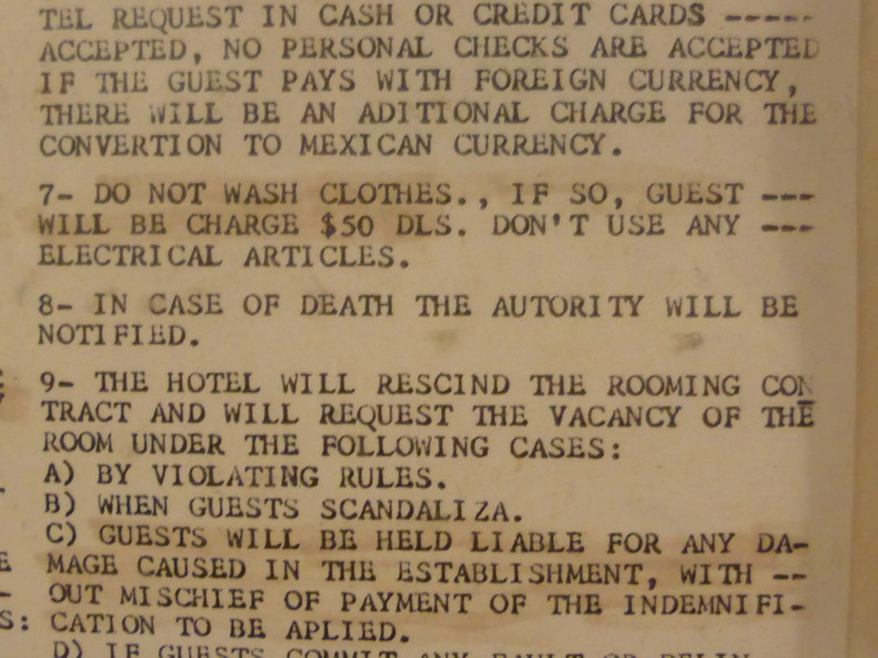 Rule number 8: 'In case of death, the autority [sic] will be notified'