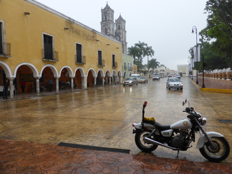 The main plaza in the rain