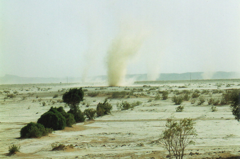 Whirlwinds in the desert near Merzouga
