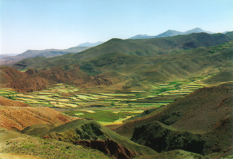 Tiers of fields in a mountain valley