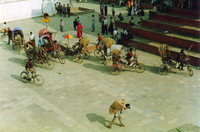 Rickshaws driving through Durbar Square