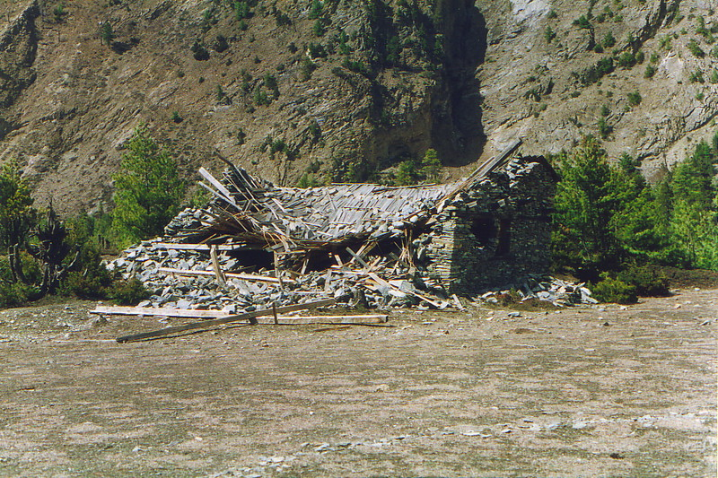 A collapsed house