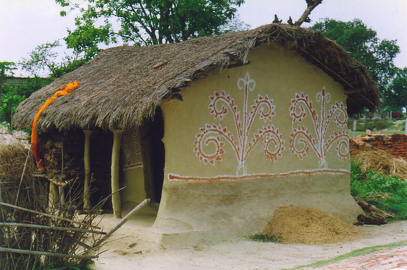 A beautifully decorated mud house