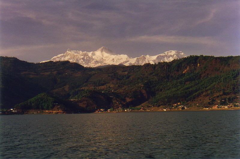 A view of the Annapurna range from the lake at Pokhara