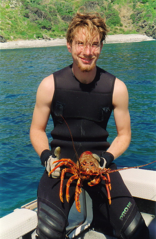 Glen and some crayfish, Poor Knights Islands