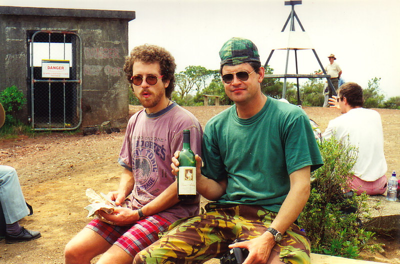 Greg (right) and Thomas celebrating on top of Rangitoto with a bottle of Queen Adelaide