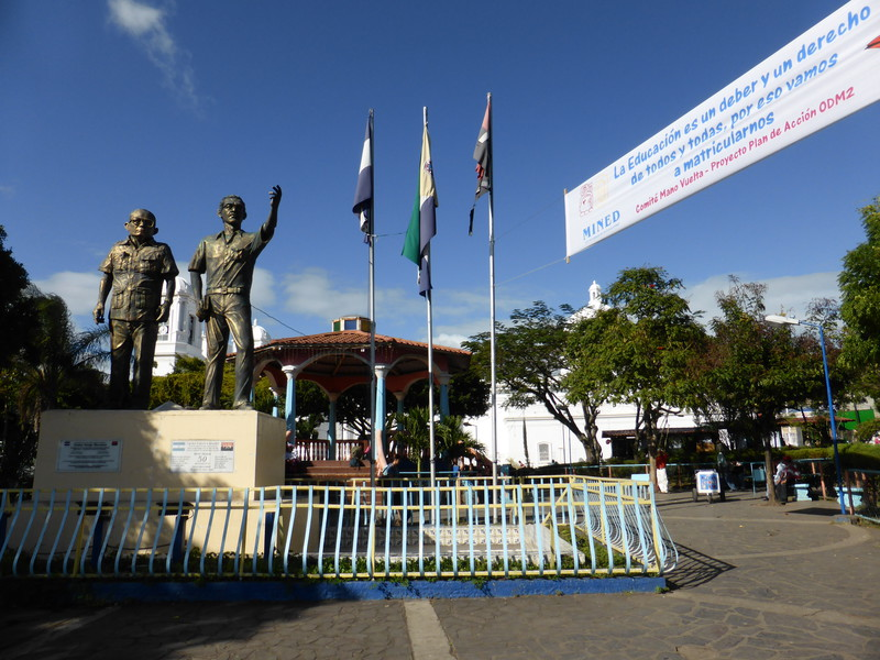 The main plaza in Matagalpa, complete with statues of FSLN founders Tomas Borge and Carlos Fonseca Matagalpa