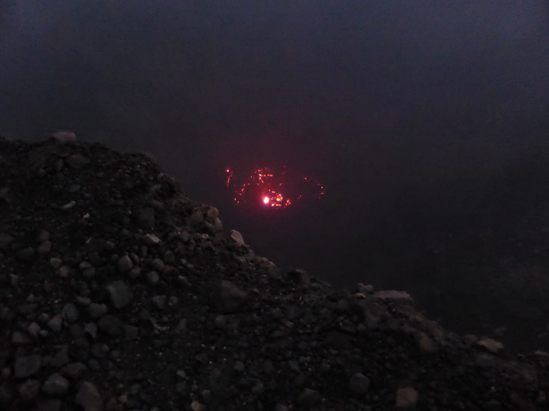The hellish glow of lava 120m down in the middle of the crater