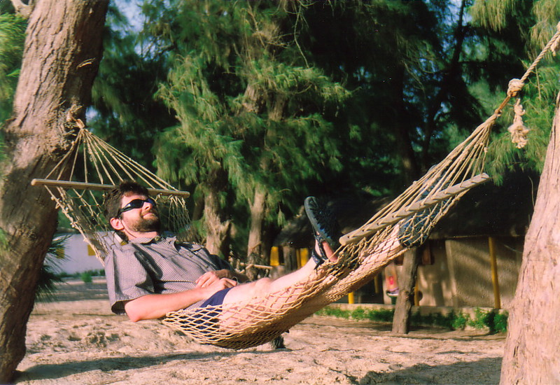 Mark relaxing in a hammock in St-Louis