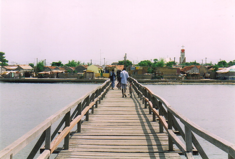 The wooden bridge to the island of Fadiout