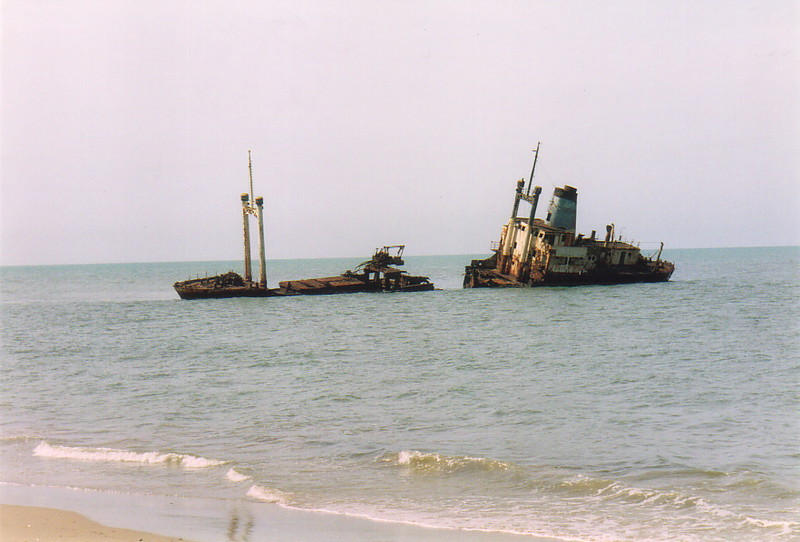 A beached ship off Palmarin beach