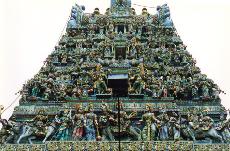 The roof of the Veerama Kali Amman Temple