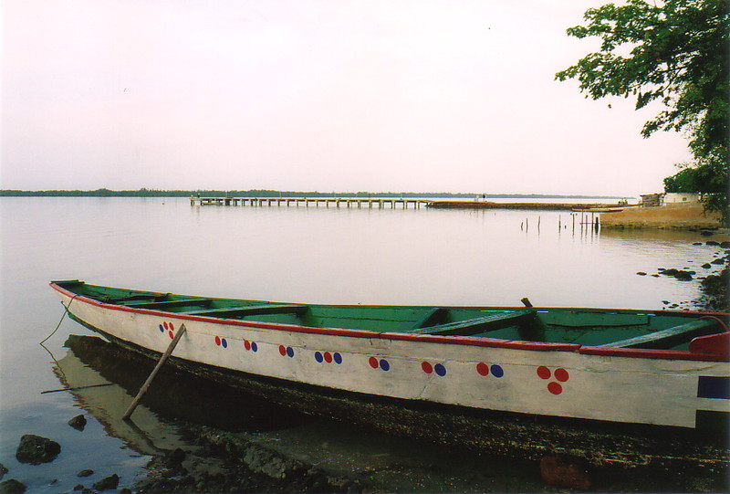 A pirogue on the River Gambia at Tendaba Camp