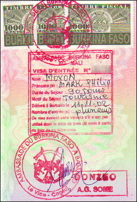 Three-month tourist visa for Burkina Faso