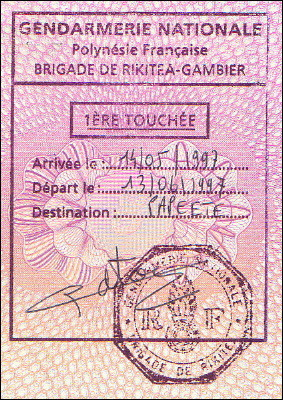 Entry stamp for Rikitea, French Polynesia
