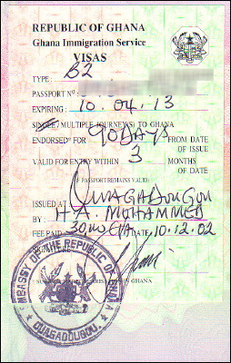 Ghanaian three-month tourist visa