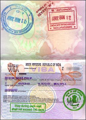 Indian six-month tourist visa (2007)
