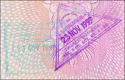 Indonesian entry and exit stamps