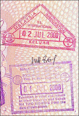 Malaysian entry and exit stamps