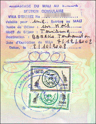 Malian one-month tourist visa